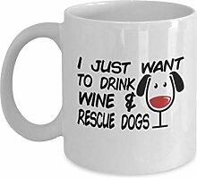 Geschenk gor Hundeliebhaber, trinken Wein und