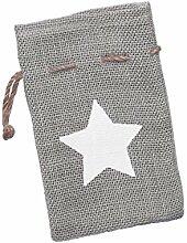 Geschenk Jutesack Stern - grau-weiß - ca. 18x12 cm - mit praktischer Zugkordel - als Geschenkverpackung oder Winterdeko