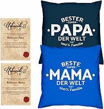 Geschenk Mama Papa :: Valentinstagsgeschenk Bundle :: 2 Kissen 2 Urkunden :: Geschenkidee Muttertag Vatertag
