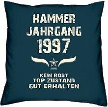 Geschenk Set 21. Geburtstag : Hammer Jahrgang 1997 : Kissen 40 x 40 inkl. Füllung & Urkunde : Geburtstagsgeschenk Männer Frauen Farbe: navy-blau