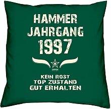 Geschenk Set 21. Geburtstag : Hammer Jahrgang 1997 : Kissen 40 x 40 inkl. Füllung & Urkunde : Geburtstagsgeschenk Männer Frauen Farbe: dunkelgrün