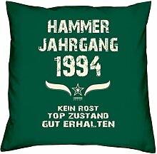 Geschenk Set 24. Geburtstag : Hammer Jahrgang 1994 : Kissen 40 x 40 inkl. Füllung & Urkunde : Geburtstagsgeschenk Männer Frauen Farbe: dunkelgrün