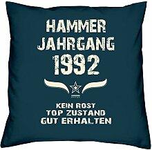 Geschenk Set 26. Geburtstag : Hammer Jahrgang 1992 : Kissen 40 x 40 inkl. Füllung & Urkunde : Geburtstagsgeschenk Männer Frauen Farbe: navy-blau