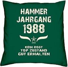 Geschenk Set 30. Geburtstag : Hammer Jahrgang 1988 : Kissen 40 x 40 inkl. Füllung & Urkunde : Geburtstagsgeschenk Männer Frauen Farbe: dunkelgrün