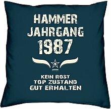 Geschenk Set 31. Geburtstag : Hammer Jahrgang 1987 : Kissen 40 x 40 inkl. Füllung & Urkunde : Geburtstagsgeschenk Männer Frauen Farbe: navy-blau