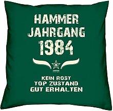 Geschenk Set 34. Geburtstag : Hammer Jahrgang 1984 : Kissen 40 x 40 inkl. Füllung & Urkunde : Geburtstagsgeschenk Männer Frauen Farbe: dunkelgrün