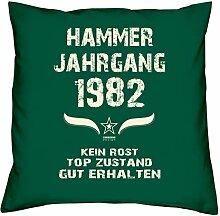 Geschenk Set 36. Geburtstag : Hammer Jahrgang 1982 : Kissen 40 x 40 inkl. Füllung & Urkunde : Geburtstagsgeschenk Männer Frauen Farbe: dunkelgrün