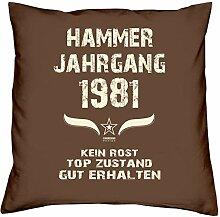 Geschenk Set 37. Geburtstag : Hammer Jahrgang 1981 : Kissen 40 x 40 inkl. Füllung & Urkunde : Geburtstagsgeschenk Männer Frauen Farbe: braun