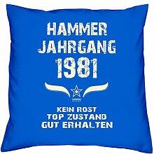 Geschenk Set 37. Geburtstag : Hammer Jahrgang 1981 : Kissen 40 x 40 inkl. Füllung & Urkunde : Geburtstagsgeschenk Männer Frauen Farbe: royal-blau