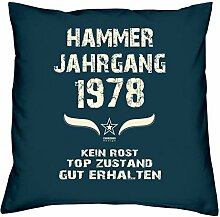 Geschenk Set 40. Geburtstag : Hammer Jahrgang 1978 : Kissen 40 x 40 inkl. Füllung & Urkunde : Geburtstagsgeschenk Männer Frauen Farbe: navy-blau