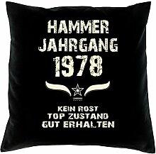 Geschenk Set 40. Geburtstag : Hammer Jahrgang 1978 : Kissen 40 x 40 inkl. Füllung & Urkunde : Geburtstagsgeschenk Männer Frauen Farbe: schwarz