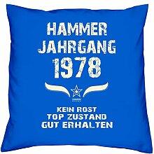 Geschenk Set 40. Geburtstag : Hammer Jahrgang 1978 : Kissen 40 x 40 inkl. Füllung & Urkunde : Geburtstagsgeschenk Männer Frauen Farbe: royal-blau