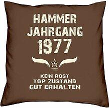 Geschenk Set 41. Geburtstag : Hammer Jahrgang 1977 : Kissen 40 x 40 inkl. Füllung & Urkunde : Geburtstagsgeschenk Männer Frauen Farbe: braun