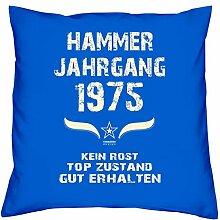 Geschenk Set 43. Geburtstag : Hammer Jahrgang 1975 : Kissen 40 x 40 inkl. Füllung & Urkunde : Geburtstagsgeschenk Männer Frauen Farbe: royal-blau