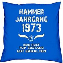 Geschenk Set 45. Geburtstag : Hammer Jahrgang 1973 : Kissen 40 x 40 inkl. Füllung & Urkunde : Geburtstagsgeschenk Männer Frauen Farbe: royal-blau