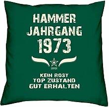 Geschenk Set 45. Geburtstag : Hammer Jahrgang 1973 : Kissen 40 x 40 inkl. Füllung & Urkunde : Geburtstagsgeschenk Männer Frauen Farbe: dunkelgrün