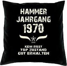 Geschenk Set 48. Geburtstag : Hammer Jahrgang 1970 : Kissen 40 x 40 inkl. Füllung & Urkunde : Geburtstagsgeschenk Männer Frauen Farbe: schwarz