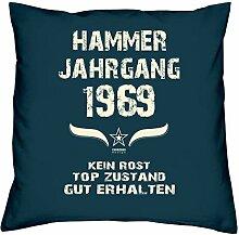 Geschenk Set 49. Geburtstag : Hammer Jahrgang 1969 : Kissen 40 x 40 inkl. Füllung & Urkunde : Geburtstagsgeschenk Männer Frauen Farbe: navy-blau