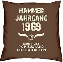 Geschenk Set 49. Geburtstag : Hammer Jahrgang 1969 : Kissen 40 x 40 inkl. Füllung & Urkunde : Geburtstagsgeschenk Männer Frauen Farbe: braun