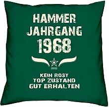 Geschenk Set 50. Geburtstag : Hammer Jahrgang 1968 : Kissen 40 x 40 inkl. Füllung & Urkunde : Geburtstagsgeschenk Männer Frauen Farbe: dunkelgrün