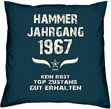 Geschenk Set 51. Geburtstag : Hammer Jahrgang 1967 : Kissen 40 x 40 inkl. Füllung & Urkunde : Geburtstagsgeschenk Männer Frauen Farbe: navy-blau
