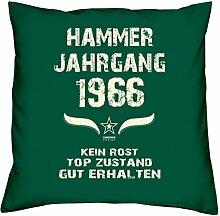 Geschenk Set 52. Geburtstag : Hammer Jahrgang 1966 : Kissen 40 x 40 inkl. Füllung & Urkunde : Geburtstagsgeschenk Männer Frauen Farbe: dunkelgrün