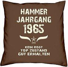 Geschenk Set 53. Geburtstag : Hammer Jahrgang 1965 : Kissen 40 x 40 inkl. Füllung & Urkunde : Geburtstagsgeschenk Männer Frauen Farbe: braun