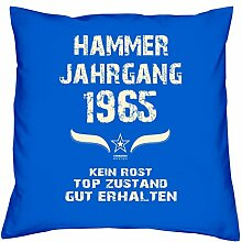 Geschenk Set 53. Geburtstag : Hammer Jahrgang 1965 : Kissen 40 x 40 inkl. Füllung & Urkunde : Geburtstagsgeschenk Männer Frauen Farbe: royal-blau