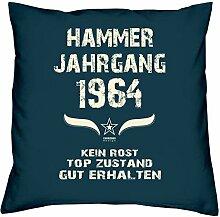 Geschenk Set 54. Geburtstag : Hammer Jahrgang 1964 : Kissen 40 x 40 inkl. Füllung & Urkunde : Geburtstagsgeschenk Männer Frauen Farbe: navy-blau