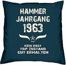 Geschenk Set 55. Geburtstag : Hammer Jahrgang 1963 : Kissen 40 x 40 inkl. Füllung & Urkunde : Geburtstagsgeschenk Männer Frauen Farbe: navy-blau