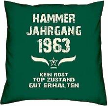 Geschenk Set 55. Geburtstag : Hammer Jahrgang 1963 : Kissen 40 x 40 inkl. Füllung & Urkunde : Geburtstagsgeschenk Männer Frauen Farbe: dunkelgrün