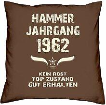 Geschenk Set 56. Geburtstag : Hammer Jahrgang 1962 : Kissen 40 x 40 inkl. Füllung & Urkunde : Geburtstagsgeschenk Männer Frauen Farbe: braun