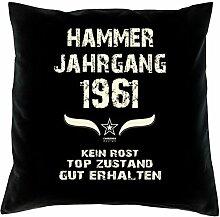 Geschenk Set 57. Geburtstag : Hammer Jahrgang 1961 : Kissen 40 x 40 inkl. Füllung & Urkunde : Geburtstagsgeschenk Männer Frauen Farbe: schwarz