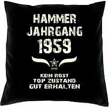 Geschenk Set 59. Geburtstag : Hammer Jahrgang 1959 : Kissen 40 x 40 inkl. Füllung & Urkunde : Geburtstagsgeschenk Männer Frauen Farbe: schwarz