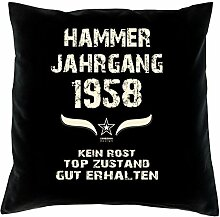 Geschenk Set 60. Geburtstag : Hammer Jahrgang 1958 : Kissen 40 x 40 inkl. Füllung & Urkunde : Geburtstagsgeschenk Männer Frauen Farbe: schwarz