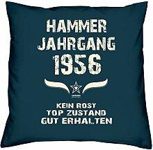 Geschenk Set 62. Geburtstag : Hammer Jahrgang 1956 : Kissen 40 x 40 inkl. Füllung & Urkunde : Geburtstagsgeschenk Männer Frauen Farbe: navy-blau