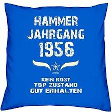 Geschenk Set 62. Geburtstag : Hammer Jahrgang 1956 : Kissen 40 x 40 inkl. Füllung & Urkunde : Geburtstagsgeschenk Männer Frauen Farbe: royal-blau