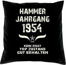 Geschenk Set 64. Geburtstag : Hammer Jahrgang 1954 : Kissen 40 x 40 inkl. Füllung & Urkunde : Geburtstagsgeschenk Männer Frauen Farbe: schwarz