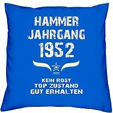 Geschenk Set 66. Geburtstag : Hammer Jahrgang 1952 : Kissen 40 x 40 inkl. Füllung & Urkunde : Geburtstagsgeschenk Männer Frauen Farbe: royal-blau