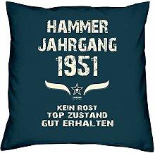 Geschenk Set 67. Geburtstag : Hammer Jahrgang 1951 : Kissen 40 x 40 inkl. Füllung & Urkunde : Geburtstagsgeschenk Männer Frauen Farbe: navy-blau