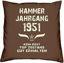 Geschenk Set 67. Geburtstag : Hammer Jahrgang 1951 : Kissen 40 x 40 inkl. Füllung & Urkunde : Geburtstagsgeschenk Männer Frauen Farbe: braun