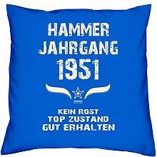 Geschenk Set 67. Geburtstag : Hammer Jahrgang 1951 : Kissen 40 x 40 inkl. Füllung & Urkunde : Geburtstagsgeschenk Männer Frauen Farbe: royal-blau