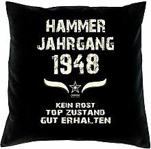Geschenk Set 70. Geburtstag : Hammer Jahrgang 1948 : Kissen 40 x 40 inkl. Füllung & Urkunde : Geburtstagsgeschenk Männer Frauen Farbe: schwarz