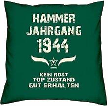 Geschenk Set 74. Geburtstag : Hammer Jahrgang 1944 : Kissen 40 x 40 inkl. Füllung & Urkunde : Geburtstagsgeschenk Männer Frauen Farbe: dunkelgrün