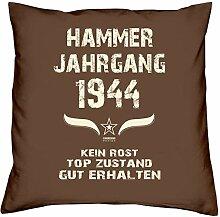 Geschenk Set 74. Geburtstag : Hammer Jahrgang 1944 : Kissen 40 x 40 inkl. Füllung & Urkunde : Geburtstagsgeschenk Männer Frauen Farbe: braun