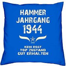 Geschenk Set 74. Geburtstag : Hammer Jahrgang 1944 : Kissen 40 x 40 inkl. Füllung & Urkunde : Geburtstagsgeschenk Männer Frauen Farbe: royal-blau