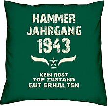 Geschenk Set 75. Geburtstag : Hammer Jahrgang 1943 : Kissen 40 x 40 inkl. Füllung & Urkunde : Geburtstagsgeschenk Männer Frauen Farbe: dunkelgrün
