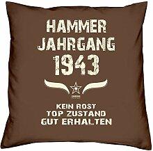 Geschenk Set 75. Geburtstag : Hammer Jahrgang 1943 : Kissen 40 x 40 inkl. Füllung & Urkunde : Geburtstagsgeschenk Männer Frauen Farbe: braun
