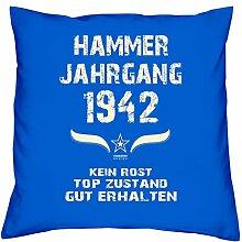 Geschenk Set 76. Geburtstag : Hammer Jahrgang 1942 : Kissen 40 x 40 inkl. Füllung & Urkunde : Geburtstagsgeschenk Männer Frauen Farbe: royal-blau