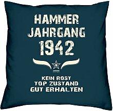 Geschenk Set 76. Geburtstag : Hammer Jahrgang 1942 : Kissen 40 x 40 inkl. Füllung & Urkunde : Geburtstagsgeschenk Männer Frauen Farbe: navy-blau